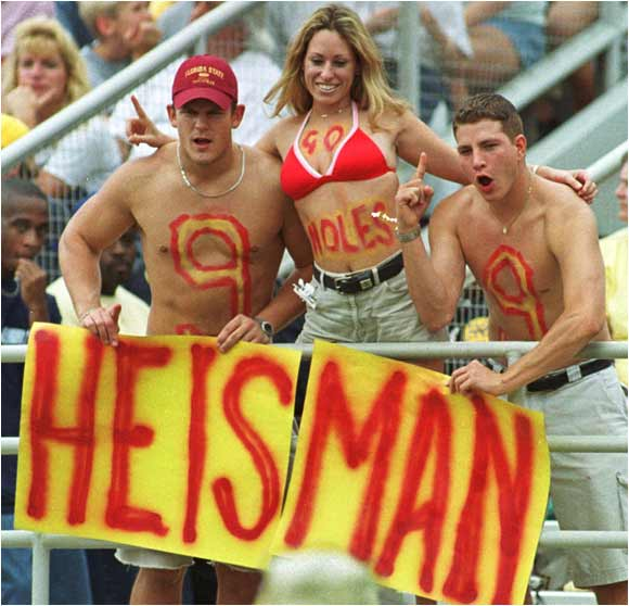 FSU fans threw their support behind Peter Warrick for the 1999 Heisman Trophy.