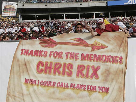 These Semiole fans showed off a Chris Rix sign during FSU's 2005 Toyota Gator Bowl victory over West Virginia, 30-18.