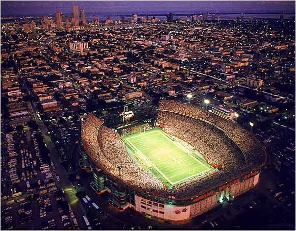 An aerial view of the Miami Orange Bowl. The stadium, which has been home to the Hurricanes since 1937, holds over 74,000 for football.