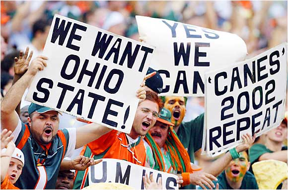 Miami fans looked ahead to a Fiesta Bowl match-up against Ohio State after the Hurricanes defeated Virginia Tech, 56-45, in December 2002.