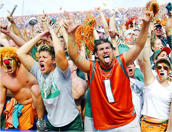 Miami fans celebrated during a 41-16 trouncing of Florida at Florida Field in Gainesville, in Septermber 2002.