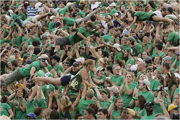 More points for the Fighting Irish, more push-ups for the Notre Dame students at this 2004 game against Michigan.