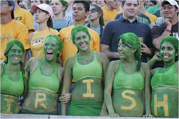 Notre Dame students cheer on the Irish during a game against Michigan State last September.