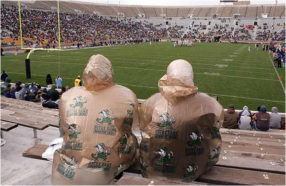 More than 23,000 fans braved snow flurries and temperatures in the 30's to watch the Notre Dame Blue-Gold game in April 2005.
