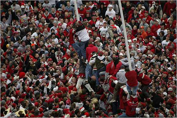 Buckeye fans took their excitement out on the goalposts after defeating Michigan, 14-9 in November, 2002.