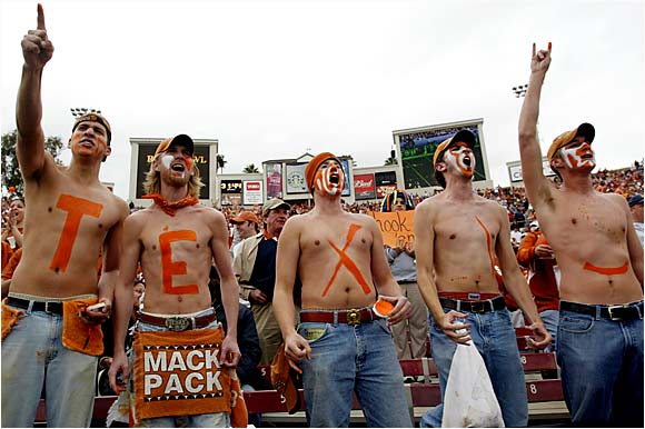 "These fans cheered so hard during last year's Rose Bowl, they lost the ""AS"" from Texas."