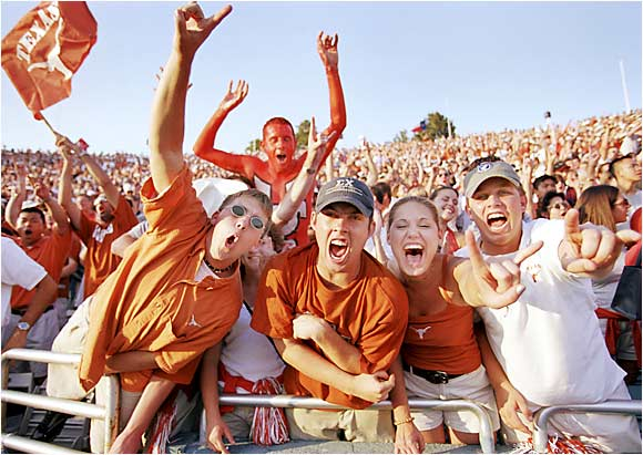 Longhorns fans exercised their lungs during a 2003 game against Oklahoma in Cotton Bowl Stadium in Dallas.