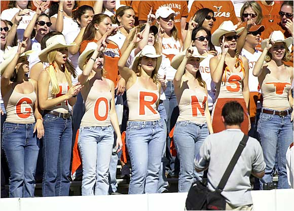 Texas fans proved that guys aren't the only ones who can paint their chest in a show of support.