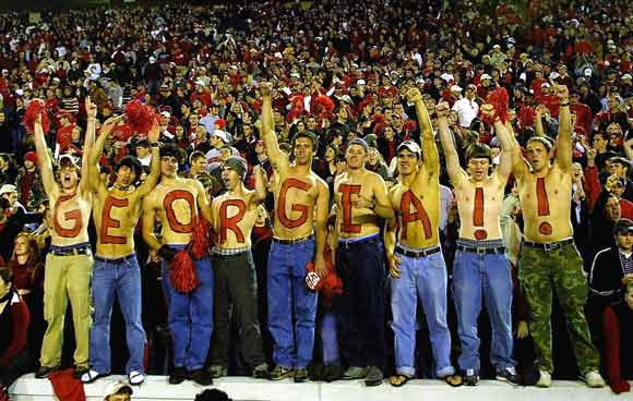 Bulldogs fans celebrated Georgia's 51-7 victory over Georgia Tech on November 30, 2002