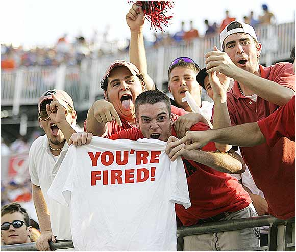 "UGA fans held a t-shirt that read, ""YOU'RE FIRED!"" during this 2004 game after the firing of Florida coach Ron Zook."