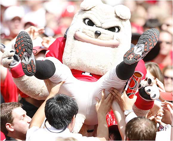 Georgia's mascot, the one that isn't an actual bulldog, celebrated in the stands during a game against Arkansas last October.