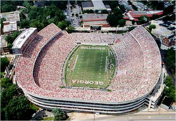 Sanford Stadium was built in 1929 and holds over 92,000 for football. The field was named after Dr. Steadman Vincent Sanford, a former English professor at the University.