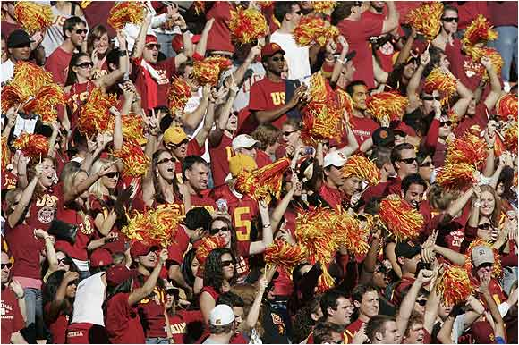 USC fans cheered their Trojans on during a 66-19 rout of UCLA last December.