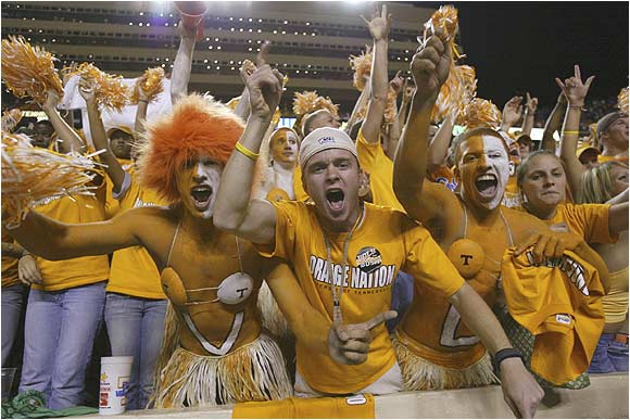 Tennessee fans let loose prior to the start of the Vols' game against Alabama in October 2004.