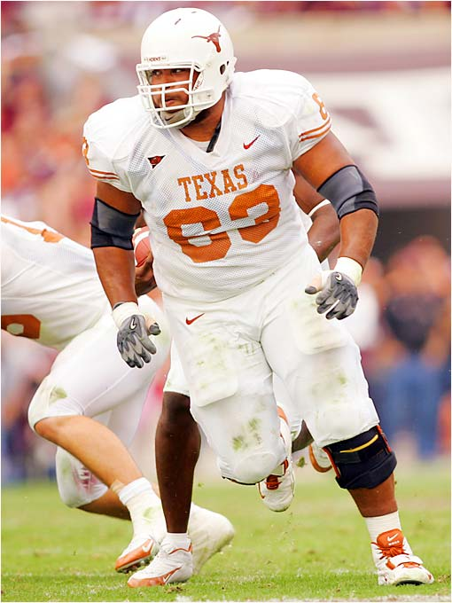 Projected as a first-round pick had he entered the 2006 NFL draft, Blalock dominates the game in both run- and pass-blocking. The 6-4, 329-pound right tackle headlines a very deep offensive line, which may be the 'Horns' best overall unit.