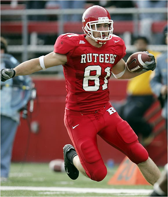 He has all the tools (6-6, 250 pounds with great hands) to go early in the 2007 NFL draft. He has improved greatly as a blocker over his first three years at Rutgers.