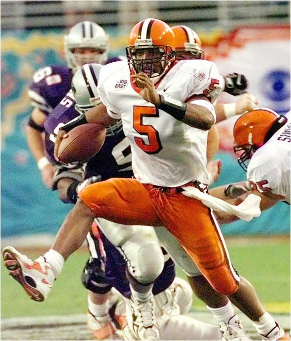 Best season: Went to Orange Bowl in 1998<br><br>'98 passing stats: 157 of 251 (62.5 percent), 2,134 yards, 22 TDs, 5 INTs<br><br>'98 rushing stats: 135 carries, 438 yards, 8 TDs<br><br>The woeful Orange long for the days of Donovan in the Carrier Dome. Now the Eagles' workhorse QB, Mr. Chunky Soup carried 'Cuse to the Orange Bowl in '98. McNabb's full range of skills were on display in a Big East-title-clinching 66-13 rout of Miami that season, in which he passed for three TDs and ran for two more.