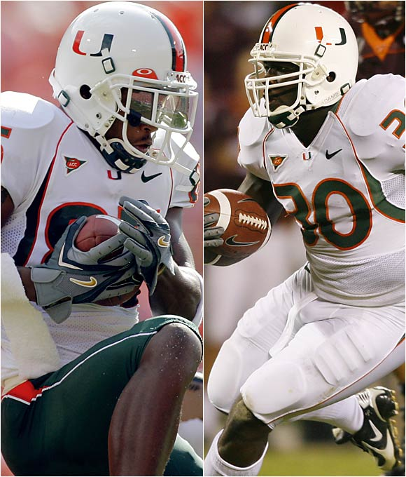 Senior starting running back Moss (right), who rushed for 701 yards and 12 touchdowns before going down with a knee injury after eight games, will miss the pivotal season opener against archrival Florida State, while Moore, a senior wideout who averaged 16.5 yards per catch a year ago, will miss that game and the next, both for violating undisclosed team rules.