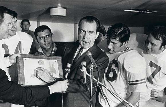 """How about a president getting involved in a way he simply shouldn't? Richard Nixon visiting the Longhorns locker room and declaring them the national champions."" -- Mike, State College, Pa."