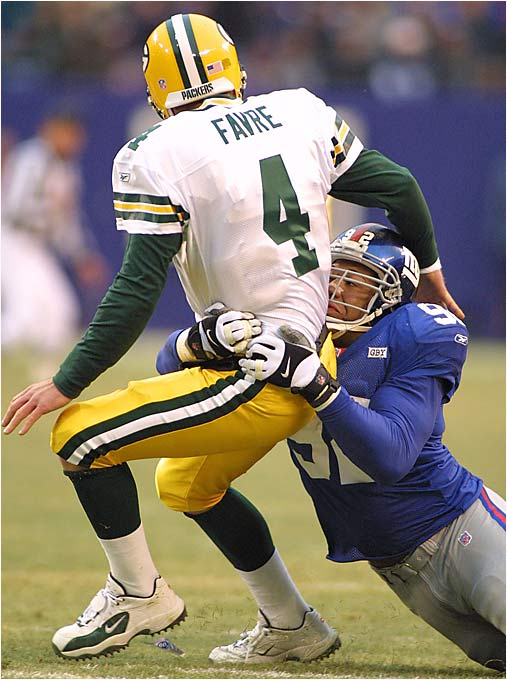 """I did not expect to see it on the list, but one of the NFL's most embarrassing moments certainly should be Michael Strahan's `record-breaking' sack of Brett Favre. I understand the NFL has no love for Mark Gastineau, but just because a player might have been a jerk, it is still not acceptable to let a player (even one as beloved as Favre) give another player a sack just to see him break a record."" -- Dan Gallagher, Wilmington, N.C."