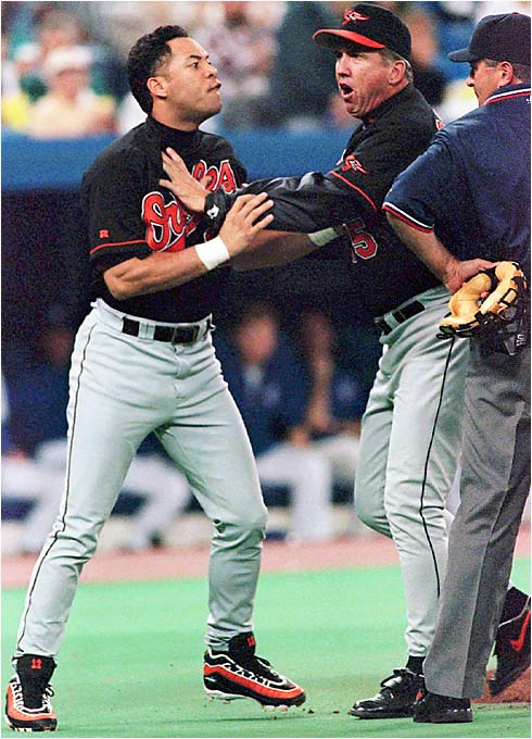 """Roberto Alomar spitting in the umpire's face and baseball's gutless `wait until next year' suspension. That's when I knew the inmates were running the asylum."" -- Larry Jameson, Camp Hill, Pa."