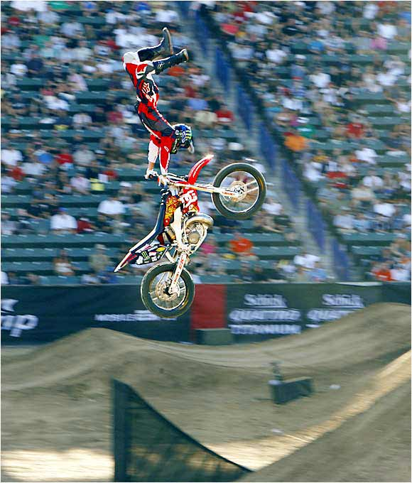 In the 2006 X Games, Adam Jones completed a distinctive run in Moto X Freestyle. Some of the tricks he executed included a dead body, a kiss of death, a backflip cordova, a cliffhanger and a back flip can-can to a saran wrap. Somehow, all of that was only good enough for a silver medal -- Travis Pastrana garnered the gold.