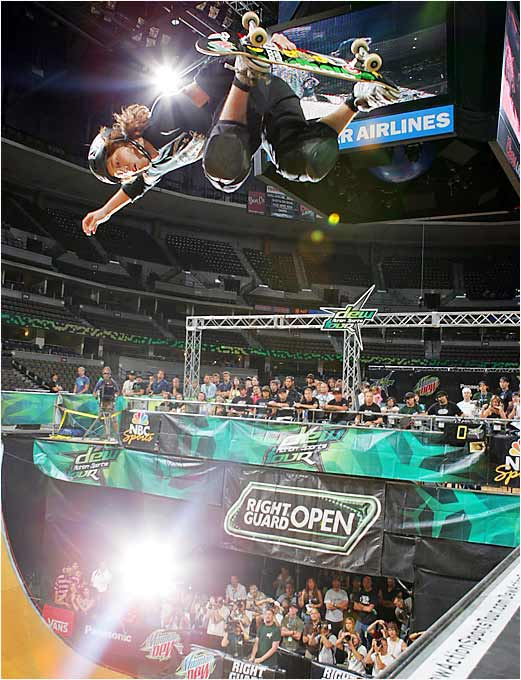 """Shaun White, the """"Flying Tomato,"""" has made a name for himself in the past year thanks to his snowboarding prowess in the Olympics and his skateboarding virtuosity in the X Games. He flashed some of the latter at the Dew Action Sports Tour in Colorado."""