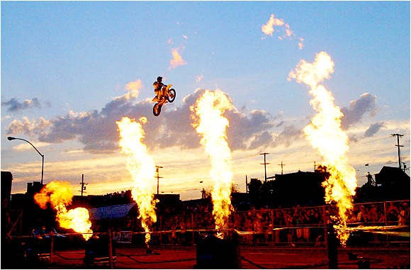 "Robbie Knievel, Evel's son, honored his father in 2006 the only way a Knievel knows how: riding his motorcycle 180 feet through the air as pyrotechnics exploded below. It was part of an annual event known as ""Evel Knievel Days"" in Butte, Mont."