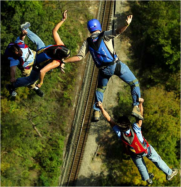 For all those with a fear of heights, let's just say that BASE jumping wouldn't be the best activity for your mental health. In 2005, these jumpers leapt off the New River Bridge in West Virginia, joining 831 others in the 876-foot fall. The event, which drew 250,000 last year, is the largest annual tourist event in the state.