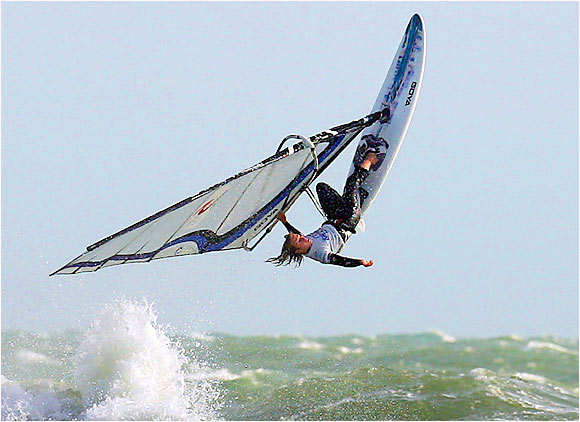 For those not familiar with the sport of windsurfing -- its name alone might conjure an oddly peaceful event -- here is a prime example. Andy Clark soared over England's Isle of Wight in 2005, making the finals of the White Air Extreme Sports Festival.