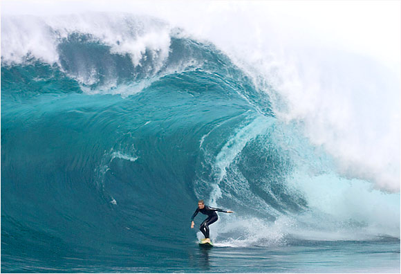 """In Tasmania, Australian surfer Laurie Towner paddled himself into what was reportedly the biggest wave ever at Shipsterns Bluff. There was no Personal Water Craft, and for his effort, the 19-year-old earned a nomination in Billabong's Global Big Wave Awards in the """"Monster Paddle"""" category."""