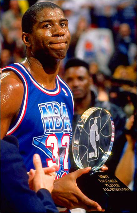 Despite retiring before the 1991-92 season, Johnson was voted into the '92 All-Star game by the fans. In his farewell, he scored 25 points, including a three-pointer in the game's final seconds, and dished 9 assists on his way to MVP honors as as the West routed the East, 153-113.