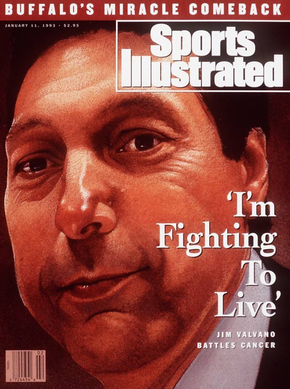 "The coach of 1983 national basketball champion N.C. State, Valvano will forever be remembered for two famous speeches. The first came at old Reynolds Coliseum, in which he gave his ""Don't give up, don't ever give up"" quotation. The second came during the 1993 ESPYs after a teleprompter informed Valvano that he had 30 seconds to wrap up a speech. ""They got that screen up there flashing 30 seconds, like I care about that screen,"" Valvano said. ""I got tumors all over my body and I'm worried about some guy in the back going 30 seconds."" He closed the speech by saying, ""Cancer can take away all of my physical abilities. It cannot touch my mind, it cannot touch my heart, and it cannot touch my soul. And those three things are going to carry on forever."" He died less than two months later."