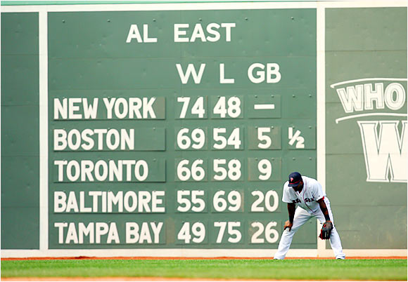 Boston's Wily Mo Peña stands in front of the scoreboard at Fenway Park during the last game of a five-game series with the Yankees.