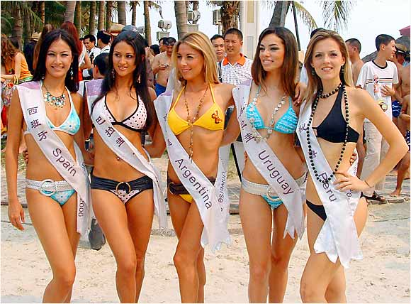 Did you know there was such a thing as the Miss Bikini of the Universe? Well, there is. And these are some of the contestants.