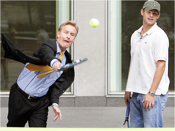 Steve Doocy, co-host of 'Fox & Friends,' launches a fair and balanced serve while Andy Roddick watches.