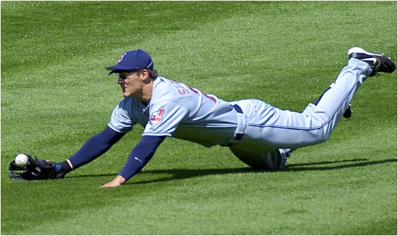 His heartthrob status shouldn't be confused with softness. He needs to cut down on K's, but at 24 he's a younger, more powerful (.905 OPS) version of fellow center-field matinee idol Johnny Damon.
