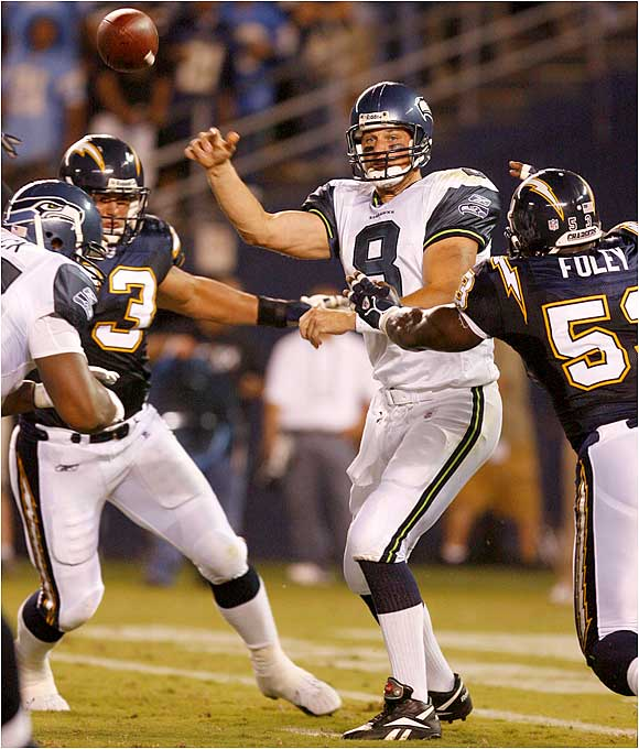 Matt Hasselbeck of the NFC-champion Seahawks went 9 of 17 for 61 yards in a 31-20 loss to the Chargers.