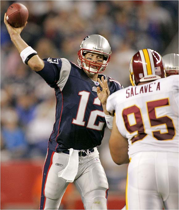Tom Brady was 17 of 30 for 231 yards in the Patriots' 41-0 rout of the Redskins.