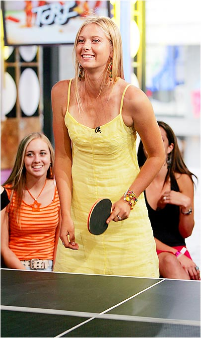 "Where does any teenage celebrity with screaming, adoring fans go? ""Total Request Live,"" of course. Sharapova stopped by MTV's Times Square studios in July '04 to put in some TRL face time -- and to play a little Ping-Pong, too."