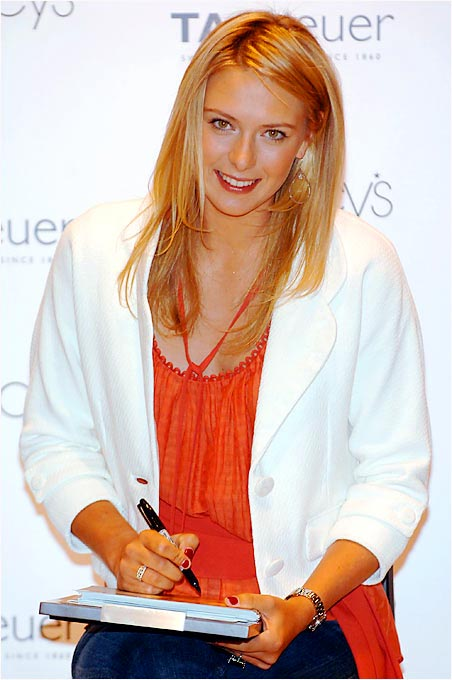 Always in demand from sponsors and fans alike, Maria stopped by Macy's in Manhattan's Herald Square last April to model a new TAG Heuer watch and sign autographs. Sharapova will earn more than $23 million in endorsements and appearances fees in 2006.