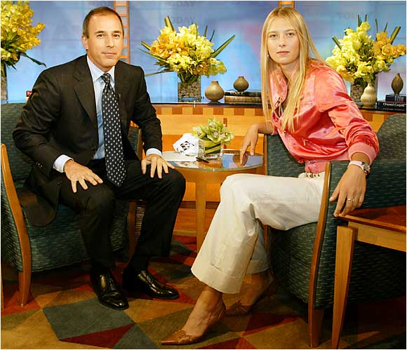 "Sharapova's whirlwind summer '04 tour of New York City also included a stop by the ""Today"" show, where she chatted with Matt Lauer about her Wimbledon victory."