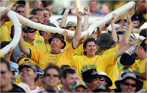 Who says cricket fans don't know how to party? These fans chugged beer snake-style at an Australia-Pakistan match in January 2005 in Perth, Australia.