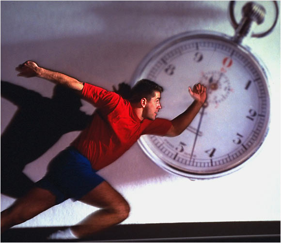 Boston College's Mike Mamula portrait with stopwatch in background.  March 25, 1995.