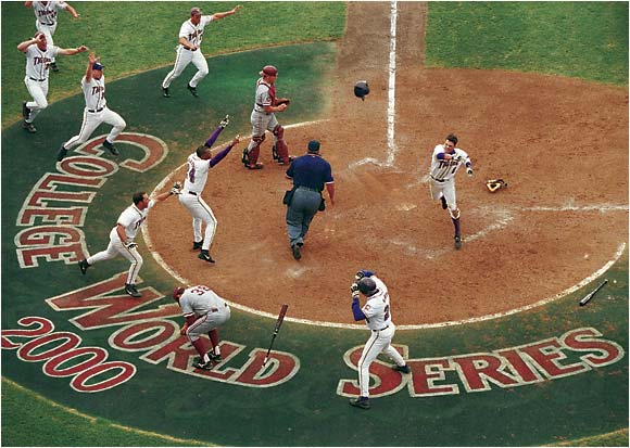 LSU celebrates its College World Series win in 2000.
