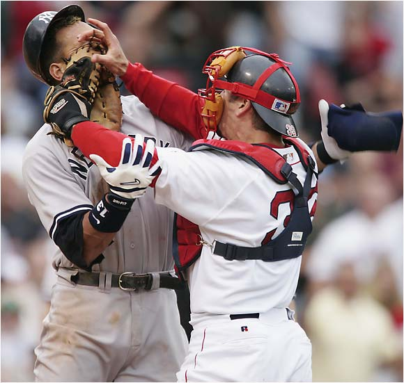 Red Sox Jason Varitek fight with Yankees Alex Rodriguez at home plate on July 24, 2004.