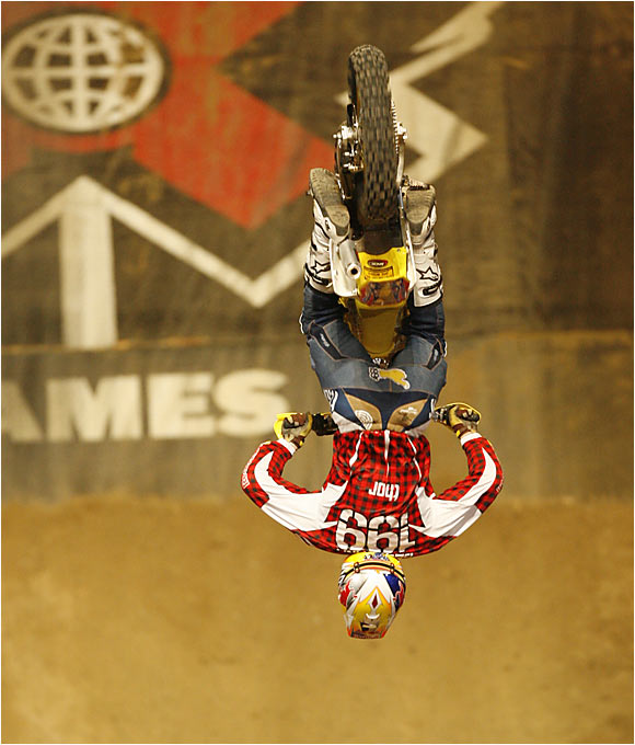 "He provided the highlight of the X Games with a gold-medal-winning double backflip during the MotoX Best Trick competition. It was the first time anyone had landed a double backflip in X Games history. Pastrana also won gold at the Moto X Freestyle and inaugural rally car ""Super Special"" race."