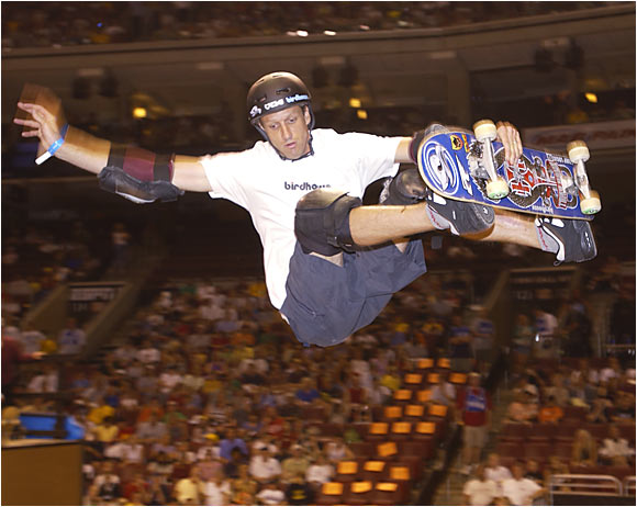 The King of the X-Games, Hawk won gold in Skateboarding Best Vert Trick at the 2001 X Games with his 900, which he invented.