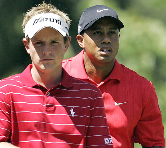 Luke Donald went into the final round tied for the lead with Tiger Woods, but fired a 2-over 74 to finish in a tie for third.