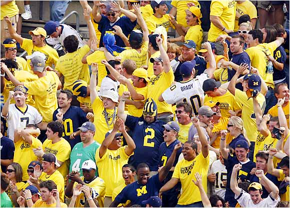 Before long, the momentum swung to Michigan, as these fans demonstrated. The Wolverines went on to defeat the Fighting Irish, 47-21.